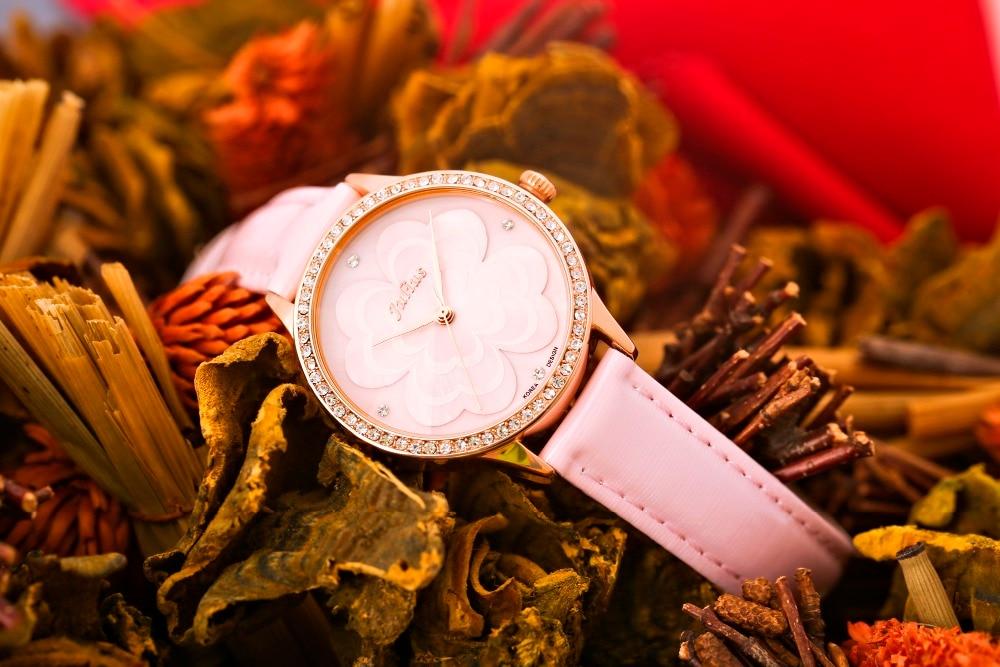 줄리어스 핑크 공주 꽃 시계 로맨틱 선물 whatch 여성 젤리 라인 석 브랜드 시계 레이디 소녀 레트로 시계 시계 JA 803-에서여성용 시계부터 시계 의  그룹 2
