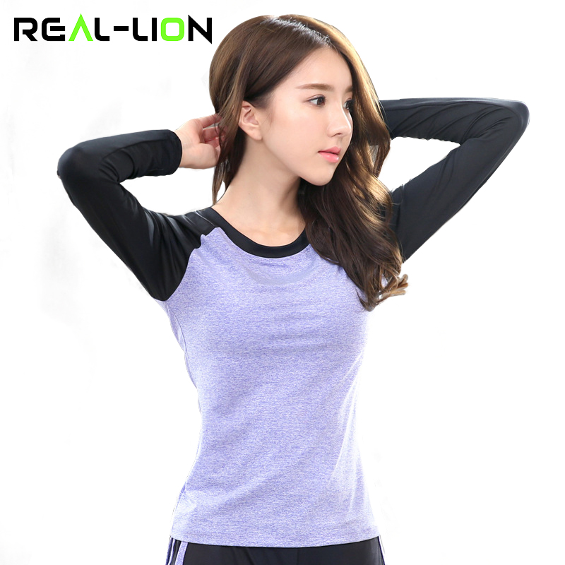 RealLion Women Yoga Clothing Tops Fitness Breathable Running Shirts Yoga Long Sleeve Shirt Sports Anti-Pilling T-shirt Slimming
