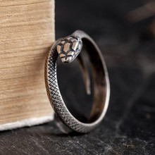Zavorohin Vintage Genuine 925 Sterling Silver Opening Adjustable Snake Finger Rings Personality Animal Jewelry As Gift