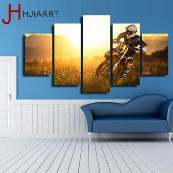 HJIAART 5 Panels Framed Motorcycle Game Painting for Living Room Wall Art Picture Sports View Modern Home Decoration