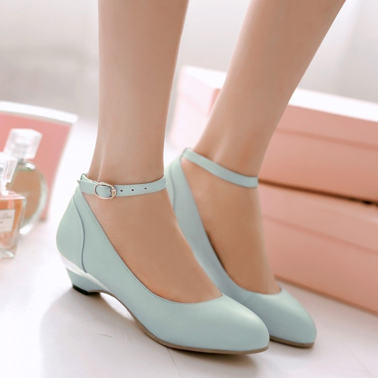 9a6b8153c2 Summer Womens Fashion Block Low Heel Court Party Prom Shoes Woman Sweet  Princess Wedge Ankle Strap Flat US 10.5-in Women's Flats from Shoes on ...