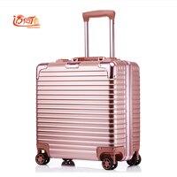 18 дюймов чемодан кабина пользовательские Чемодан Бизнес тележка мин Abs + алюминий Чемодан скутер чемодан тележка Винтаж чемодан Rollin