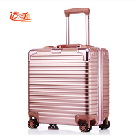 18 Inch Valise Cabine Custom Luggage Business Trolley Min Abs+aluminium Luggage Scooter Suitcase Trolley Vintage Suitcase Rollin
