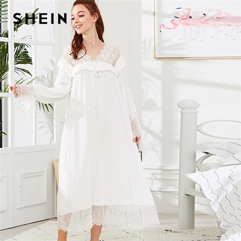 SHEIN White Elegant Eyelash Lace Trim Ruffle Ruffle Knot Front Nightdress Autumn Women Weekend Casual Sleepwear