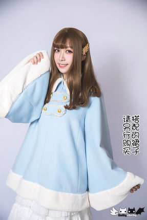 D'hiver Princesse Manches Chaud Vers 0010 Dolly Sweet Bleu Style Delly Le Bas Collier Dolley Manteau Lolita xFXF7wq1