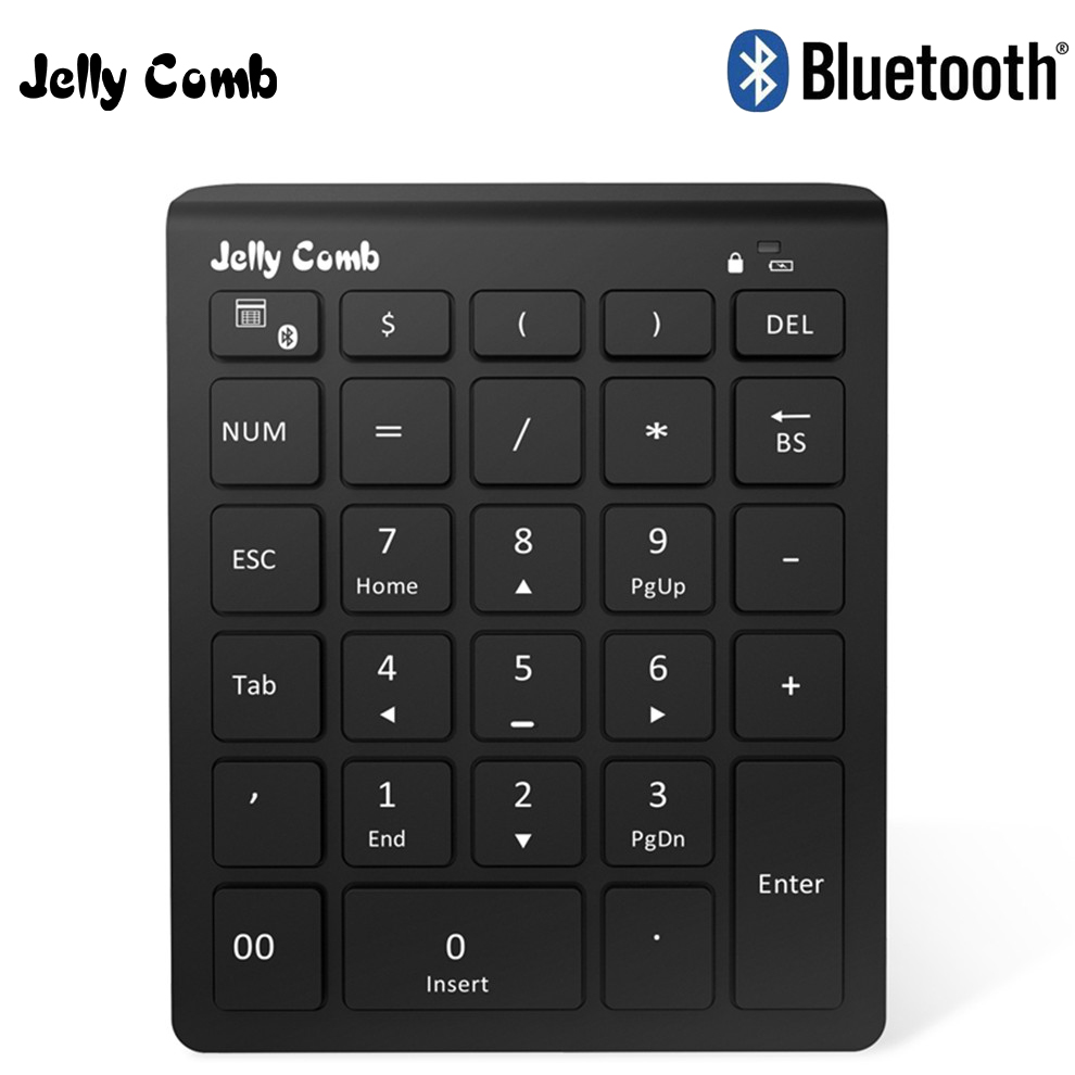 Jelly Comb Ultra Slim 28 Keys USB 2.4G Wireless Number Pad Numeric Digital Bluetooth Keyboard for Macbook Pro Tablet PC Laptop avatto ultra slim 28 keys 2 4g wireless numeric keypad number pad with scissor switch digtal keyboard for pc surface pro tablet