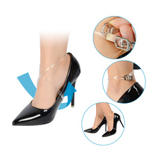 5 Pairs High Quality 58CM Invisible Elastic Transparent Ankle Shoes Bands Shoelace with Button Safety Clip for High Heel Shoes
