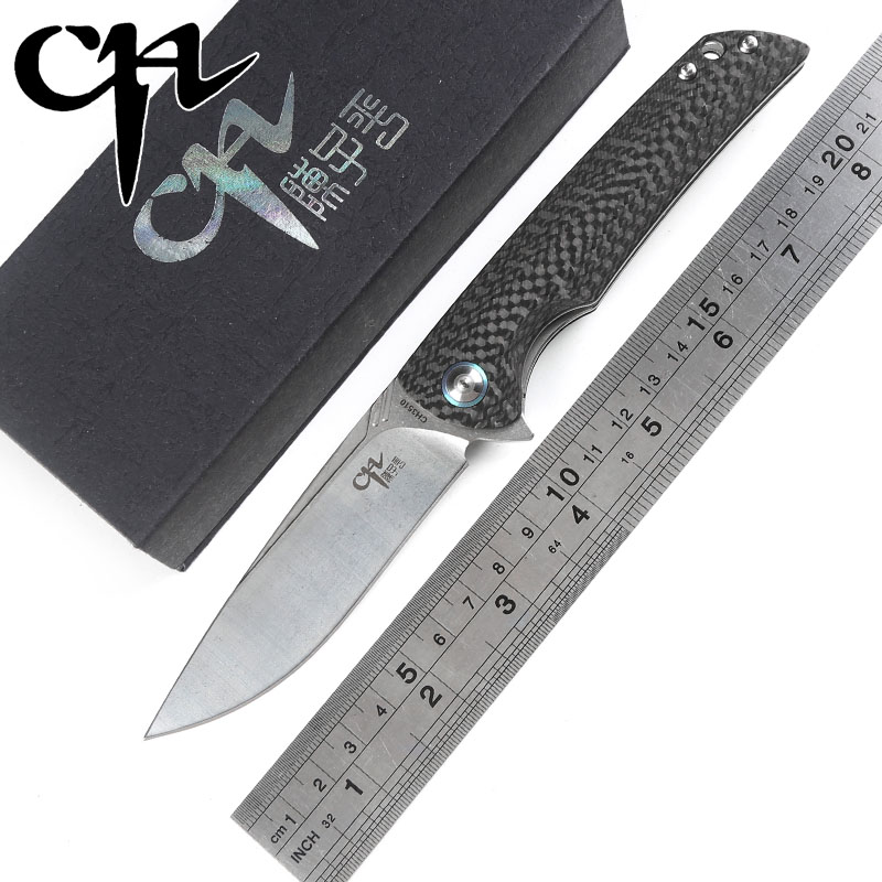 CH 3510 Folding knife VG10 blade Flipper ball bearing Carbon fiber handle outdoor survival camping hunt pocket knives EDC tools vellance a2 folding blade pocket knives m390 vg10 blade titanium handle ball bearing knife tactical camping survival knife tools