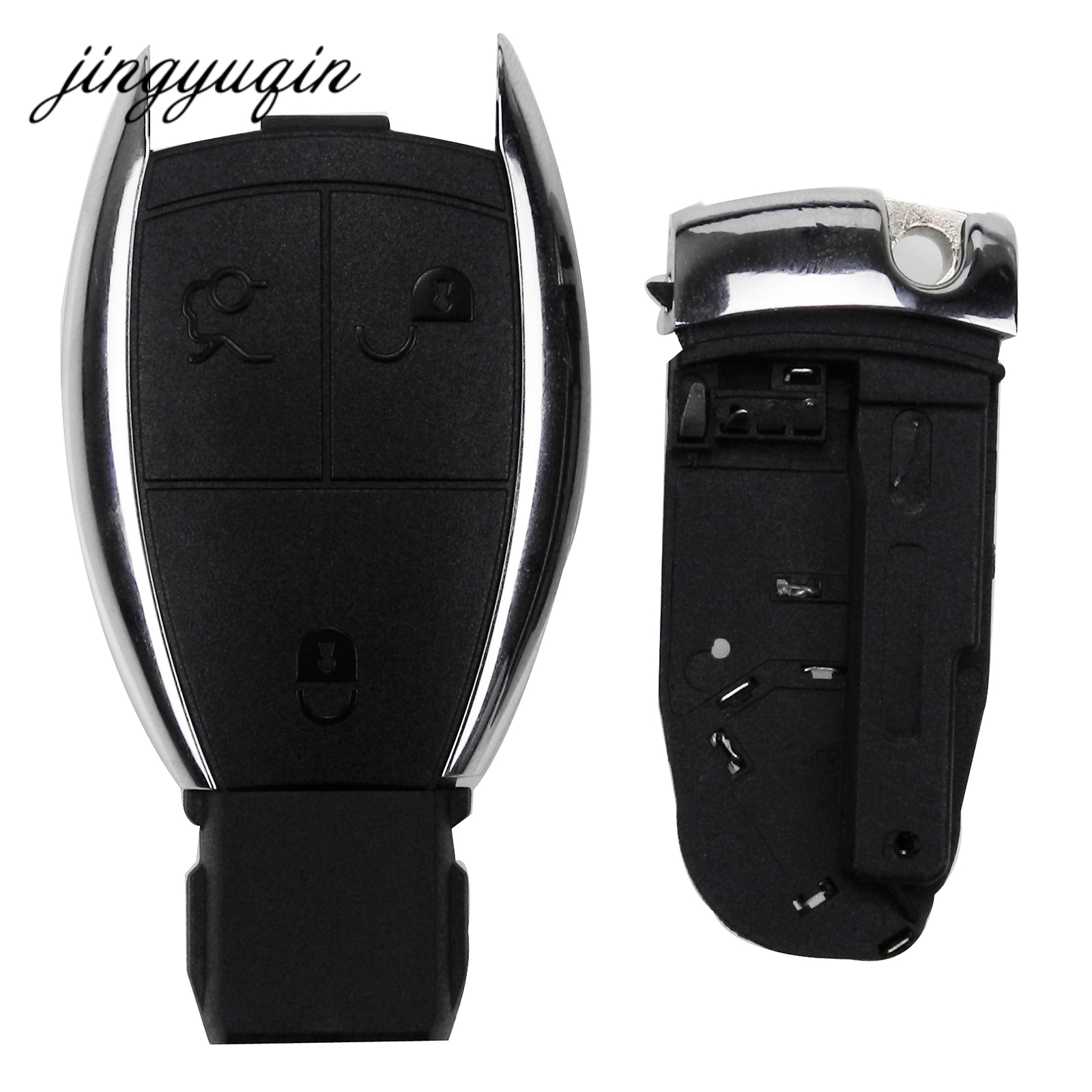 jingyuqin for MERCEDES 3 Button Remote Car Key Case Fob Shell for BENZ C E R S CL GL SL CLK SLK W203 fob + Battery Holder Clamp