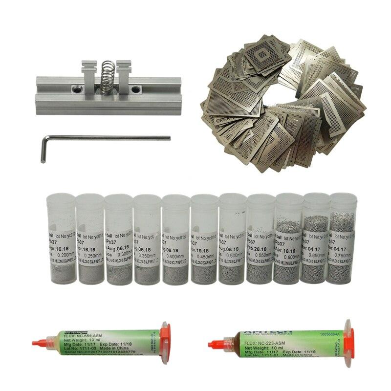 BGA Kit 110 PCS heat directly stencils Direct heating fixtures solder balls 10cc Flux