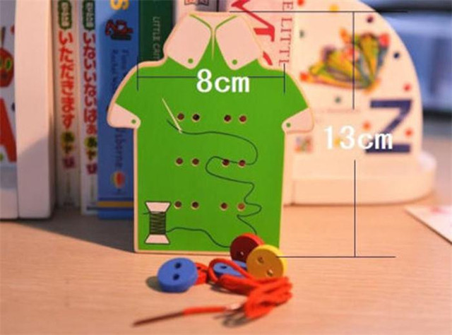Educational Kids Toys Beads Lacing Board Wooden Toys Toddler Sew On Buttons Early Education Teaching Aids Puzzles