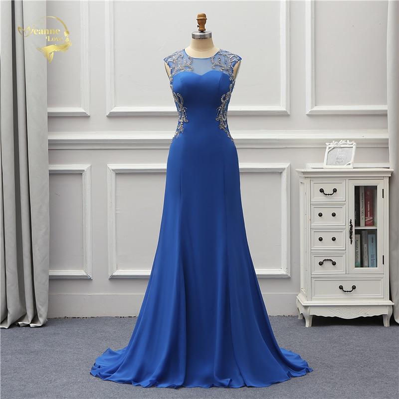 Jeanne Love Formal Evening Dress 2019 Sexy New Open Back Mermaid Prom Blue  Robe De Soiree d0861941d45d