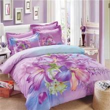 Light Purple Lily Flowers Bedding Set Queen Size Bed Sheets Duvet Cover Pillowcase 100% Cotton Floral Reactive Printed Fabric