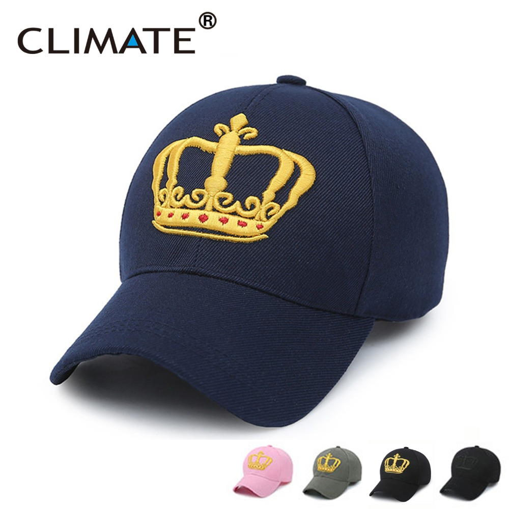 CLIMATE Striking 3D Golden Crown Logo Baseball Sport Caps Amazing Pink Navy  Color Gorras Hats For Men Women Unisex Adjustable fb391a95885