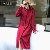 Amii Women Minimalist 2018 Autumn Dress Loose Chic Shirt Collar Embroidered Bear Cotton Female Dresses