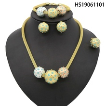 Yulaili New Dubai Jewelry Sets African Bridal Tricolor Sphere Crystal Necklace Earrings Bracelet Wedding Women Fashion Jewellery