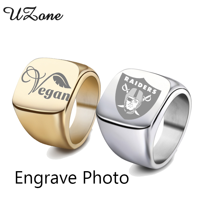 UZone Stainless Steel Engrave Name Signet Ring Personized Photo Words Midi Ring For Men Gift