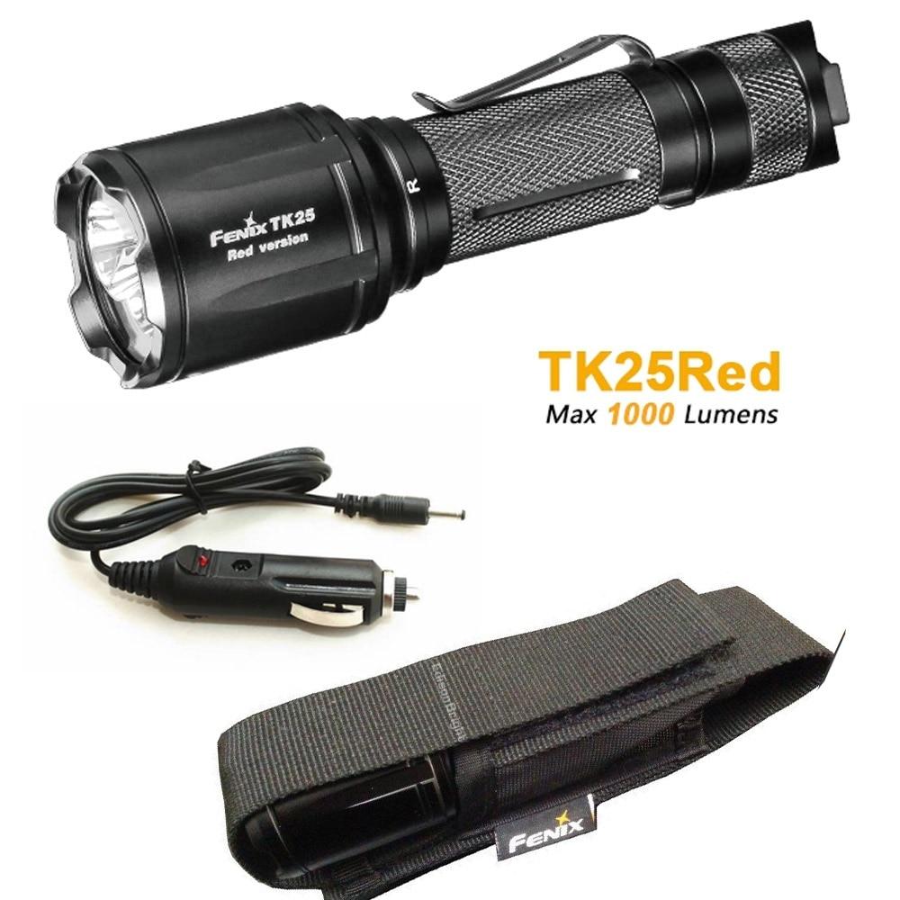 TK25Red Fenix TK25 Red Version Cree XP-G2 S3 & XP-E2 Red LED's Dual Lighting Hunting Flashlight for Most Tactical Demands fenix ld09 2015 version 220 lumens cree xp e2 r3 led flashlight