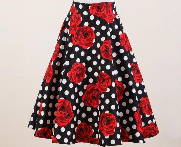d12ee3656 Falda acampanada de algodón completo lunares rojo flor rock n roll ...