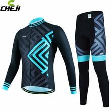 CHEJI Hommes Ropa de Ciclismo Cycling Team Jersey Vélo À Manches Longues Vêtements Ensemble De Vélos Portent le Costume Pantalon Kits S-XXXL