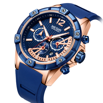Megir Sports Silicone Chronograph Military Quartz Watches Army Casual Waterproof 24-hour Analogue Wristwatch Man blue Rose date