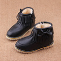 2016 winter for child/girl/kid snow boots fashion waterproof leather shoes thicken flats short boots zip bow martin boots