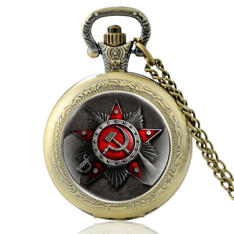Купить с кэшбэком Vintage Bronze Classic Russia Soviet Sickle Hammer Quartz Pocket Watch Retro Men Women CCCP Pendant Necklace Watches