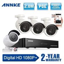 2016 Nueva ANNKE 4CH CCTV Sistema NVR POE NVR 1080 P de Vídeo Ourput 4 UNIDS 2.0 mp 1080 p Cámara IP Sistema de Seguridad CCTV Impermeable