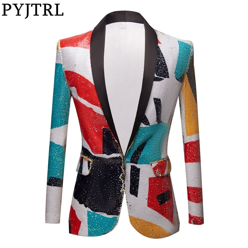 PYJTRL New Fashion Pattern Shawl Lapel Sequins Blazer DJ Night Club Slim Fit Suit Jacket Stage Singers Costume