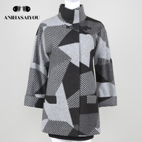 Upscale lattice cashmere coat Spring Autumn warm cashmere coat womens Casual cashmere coat plus size Fashion Jacket Outwear