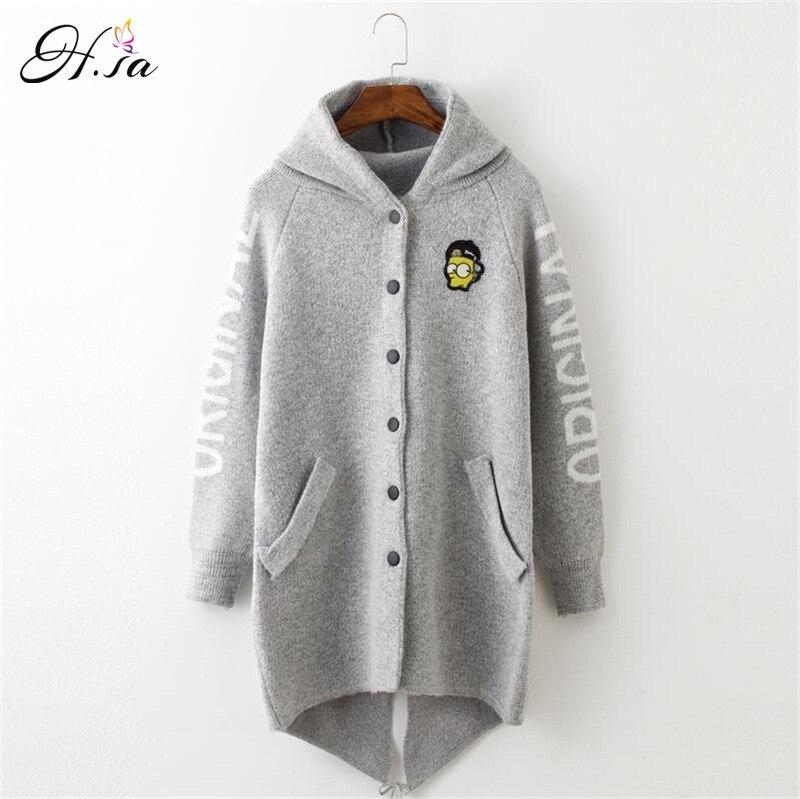 H SA 2017 Autumn Winter Long Cardigan Sweaters Women Cartoon Hooded Sweater Coat Fall Warm Thick
