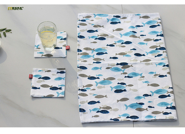 PC Japanese Linen Cloth Placemats Fish Table Mat Double Insulated - Table pads direct