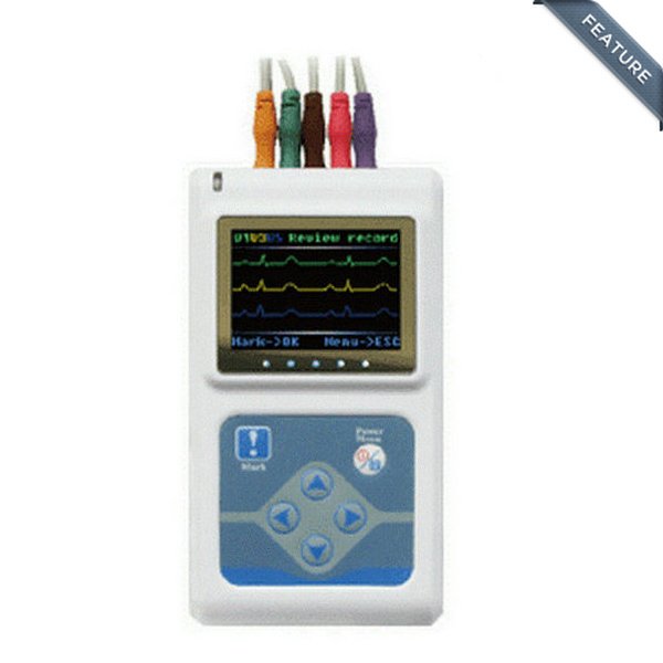 CONTEC Marque Trois Canaux ECG Holter Patient Monito ECG/ECG Holter Système TLC9803, 5 mène ECG holter ECG moniteur