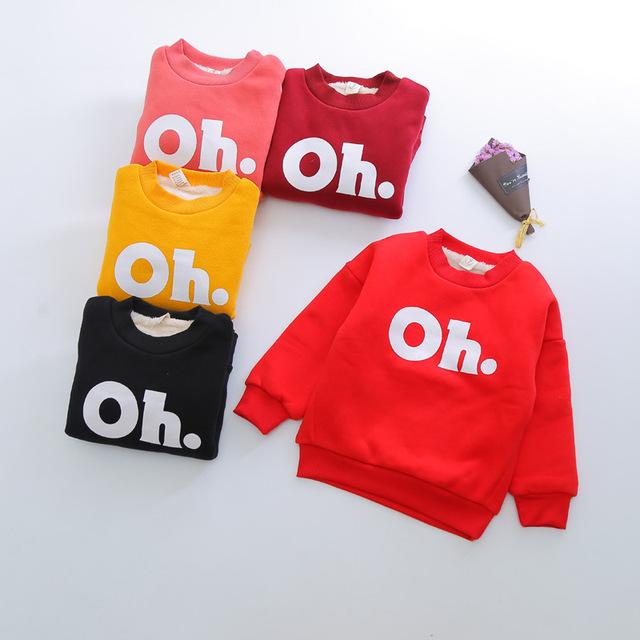 Outono inverno Crianças Hoodies Algodão além de veludo Engrossar Outwear camiseta Meninas Camisolas Hoodies Do Bebê Moda OH Crianças topos