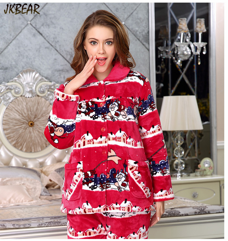 ... Lovely Santa Claus Pattern Matching Christmas Pajamas for Couples  Thicken Cotton X-mas PJS Plus ... 7efc7f2bb