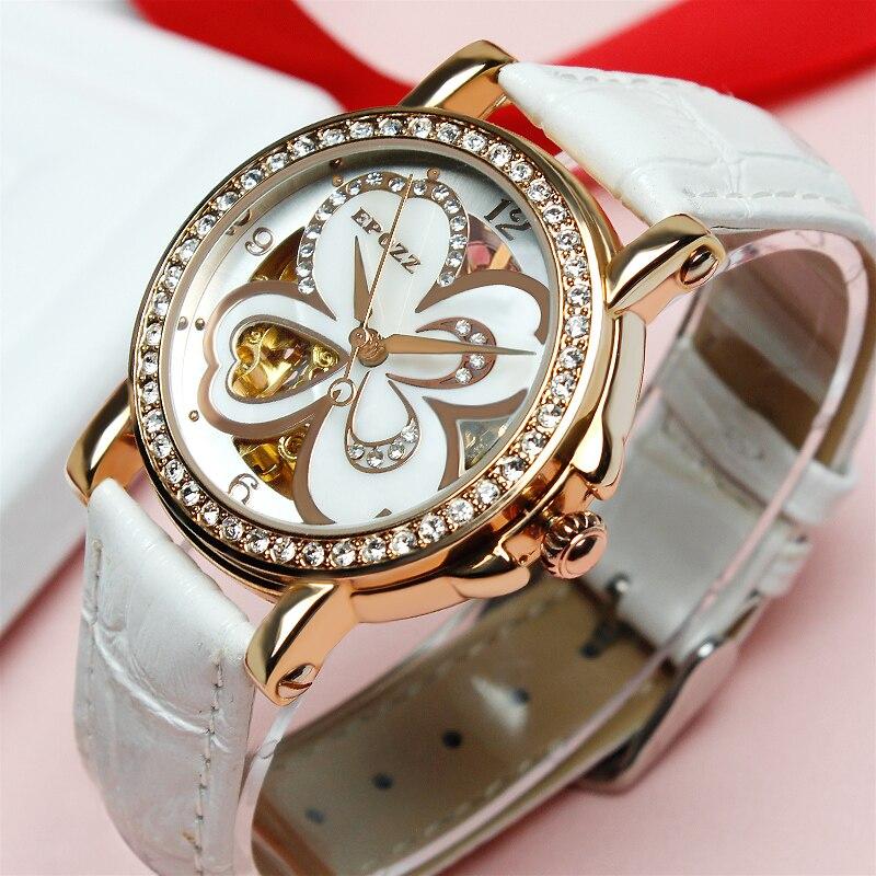 EPOZZ Brand new mechanical watch for women white flower openwork watches fashion dress waterproof leather strap wristwatch 80031 marsnaska brand new white