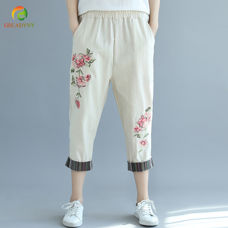Vintage Women Elastic Waist Loose Trousers Leisure Retro Baggy Pantalon Cotton Linen Embroidery Striped Harem   Pants     Capris   2018