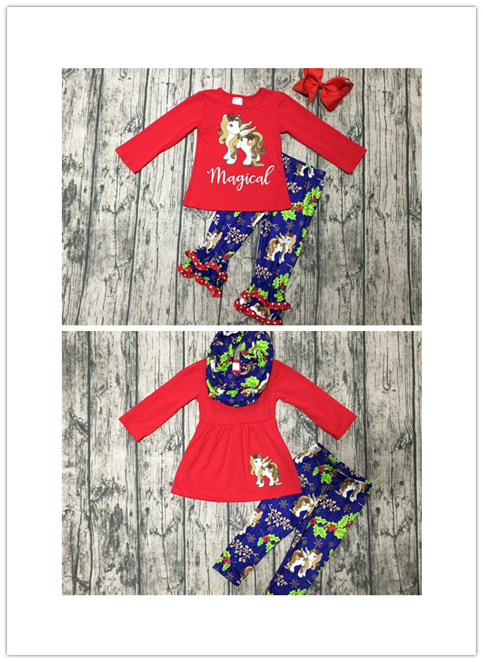 цена на baby girls winter Christmas OUTFITS with bows girls 3 pieces with scarf sets outfits Christmas unicorn clothing boutique outfit