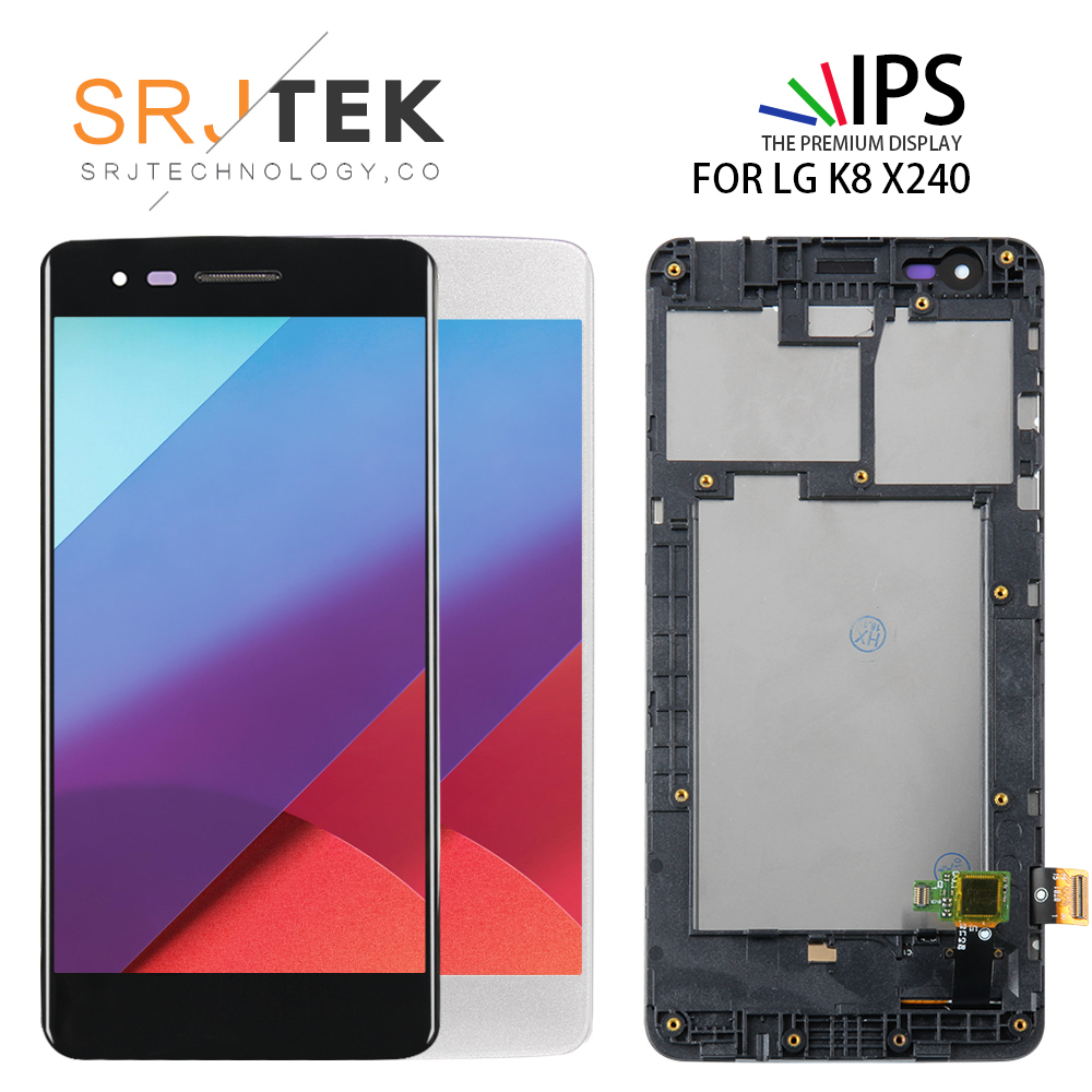 with Frame 5.0'' <font><b>LCD</b></font> Screen For <font><b>LG</b></font> K8 2017 <font><b>X240</b></font> <font><b>LCD</b></font> Display Touch Screen Digitizer Glass Sensor Assembly Matrix Panel Monitor image