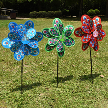 Top Quality Double Layer Peacock Laser Sequins Windmill Colourful Wind  Spinner Home Garden Decor Yard Kids