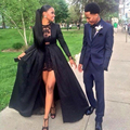2017 New Ankara Style Black Lace 2/Two Pieces Prom Dresses Detachable Coat Sheer Long Sleeves High Low Women Party Gowns