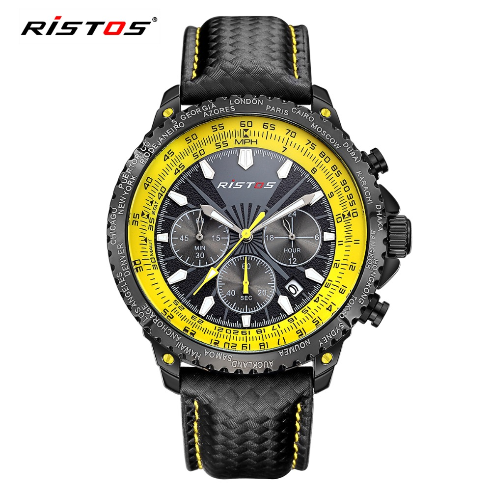 RISTOS Chronograph Watch Fashion Sport Men Quartz-Watch Calendar Leather Mens Watches Miklitary Waterproof Wrist Watched Relojes hubot elegant classic men s watch dates calendar classical art carved craft design chronograph men sport watches relogios
