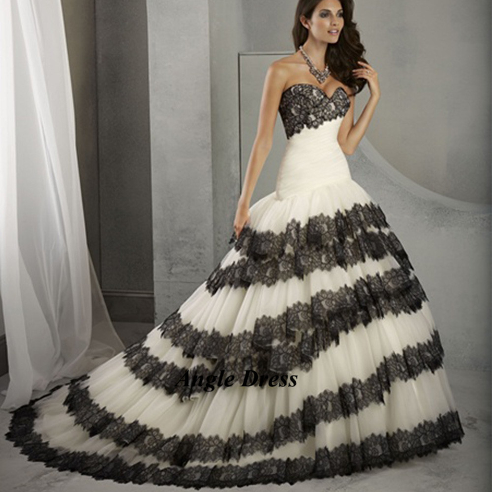 Black And White Wedding Gowns: New Fashion White And Black Wedding Dresses Lace Mermaid