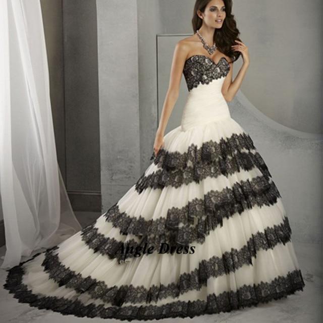 New Fashion White and Black Wedding Dresses Lace Mermaid Bridal ...