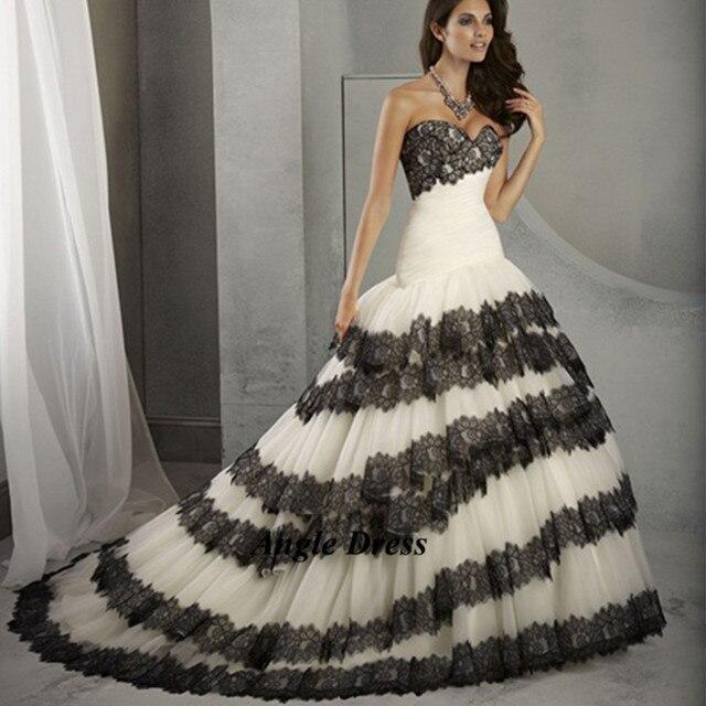 a18cb0926836 New fashion bianco e nero abiti da sposa in pizzo mermaid bridal Abito da  sposa abiti