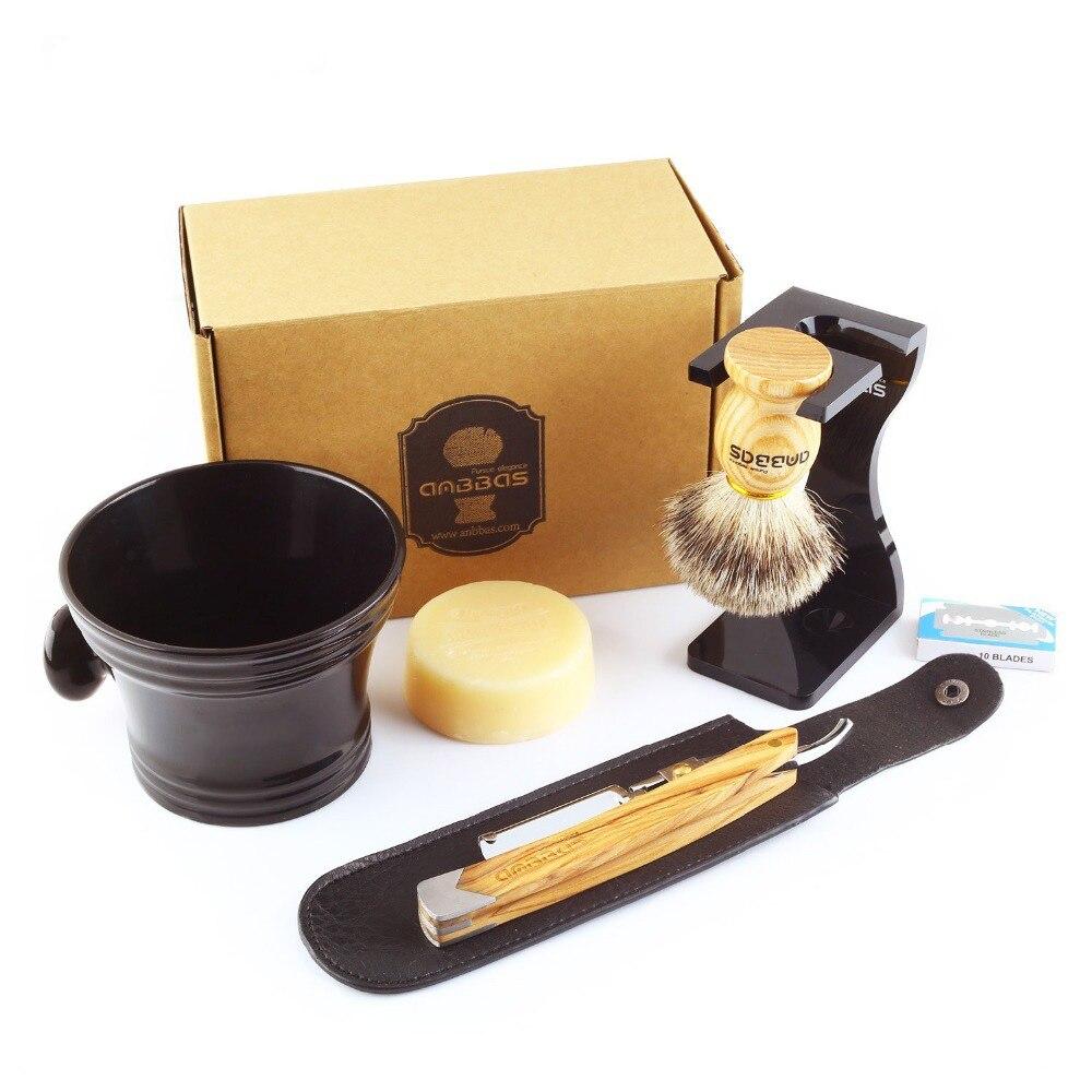 Anbbas 7Pcs Shaving Set Solid Olive Wood Handle Straight Razor Shaving Knife Silvertip Badger Brush Stand