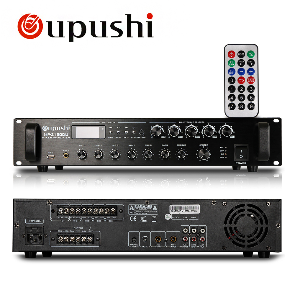 oupushi 150w acoustic power amplifier aux input fm radio in amplifier from consumer electronics. Black Bedroom Furniture Sets. Home Design Ideas