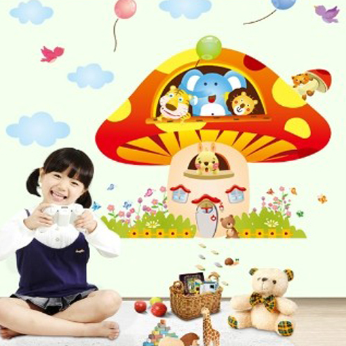 Hot selling Cartoon The mushroom house and animals wall stickers PVC ...