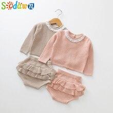 Sodawn/ г. Новая весенне-осенняя модная одежда для маленьких девочек вязаный свитер с длинными рукавами+ шорты, комплекты детской одежды, вязаный комплект