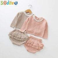 Sodawn/2019 г. новая модная одежда для маленьких девочек на весну-осень вязаный свитер с длинными рукавами + шорты, комплекты детской одежды, вяза...